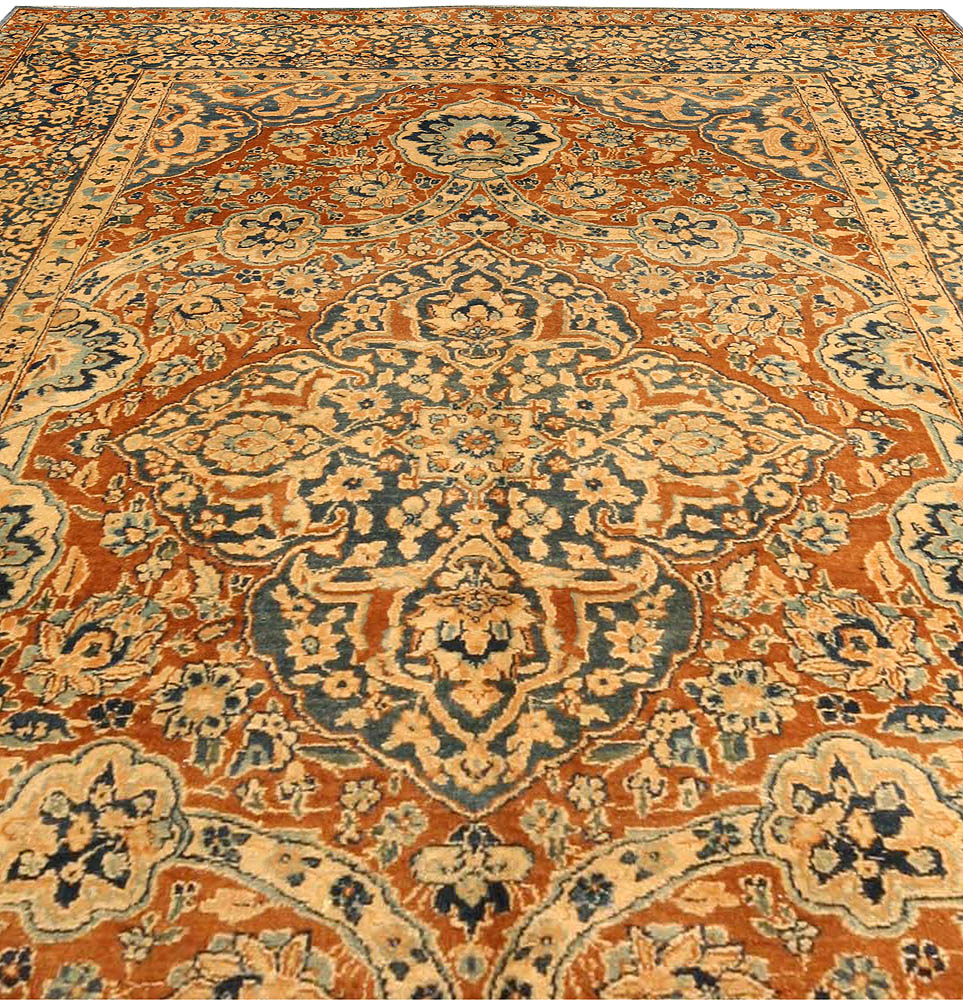 Antique Persian Kirman Brick Red and Blue Handwoven Wool Carpet BB4125