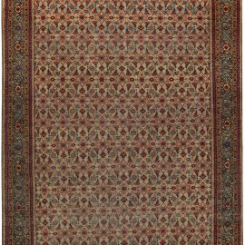 Antique Persian Tabriz Red and Blue Handwoven Wool Rug BB5073
