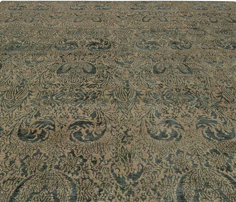 S10 Tibetan Dark Green & Gold Handwoven Wool & Silk Rug N10996