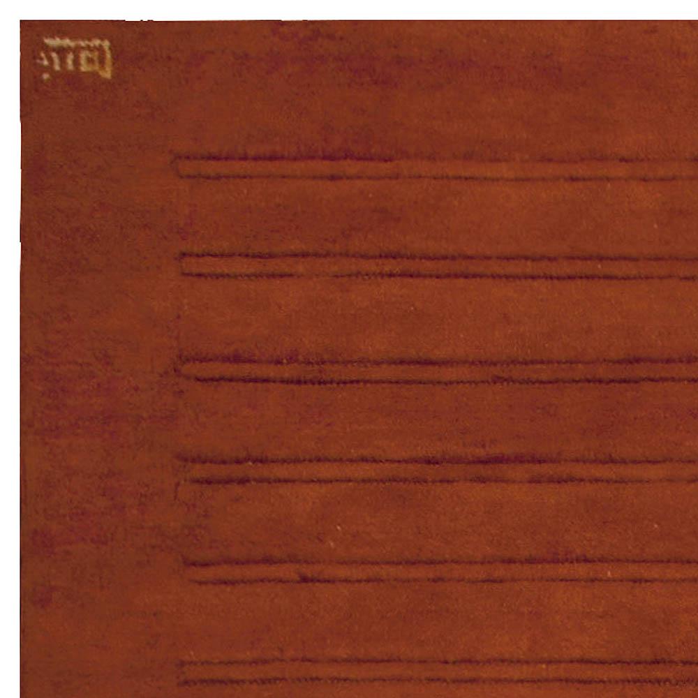 Vintage Art Deco Red Handwoven Wool Rug BB4964
