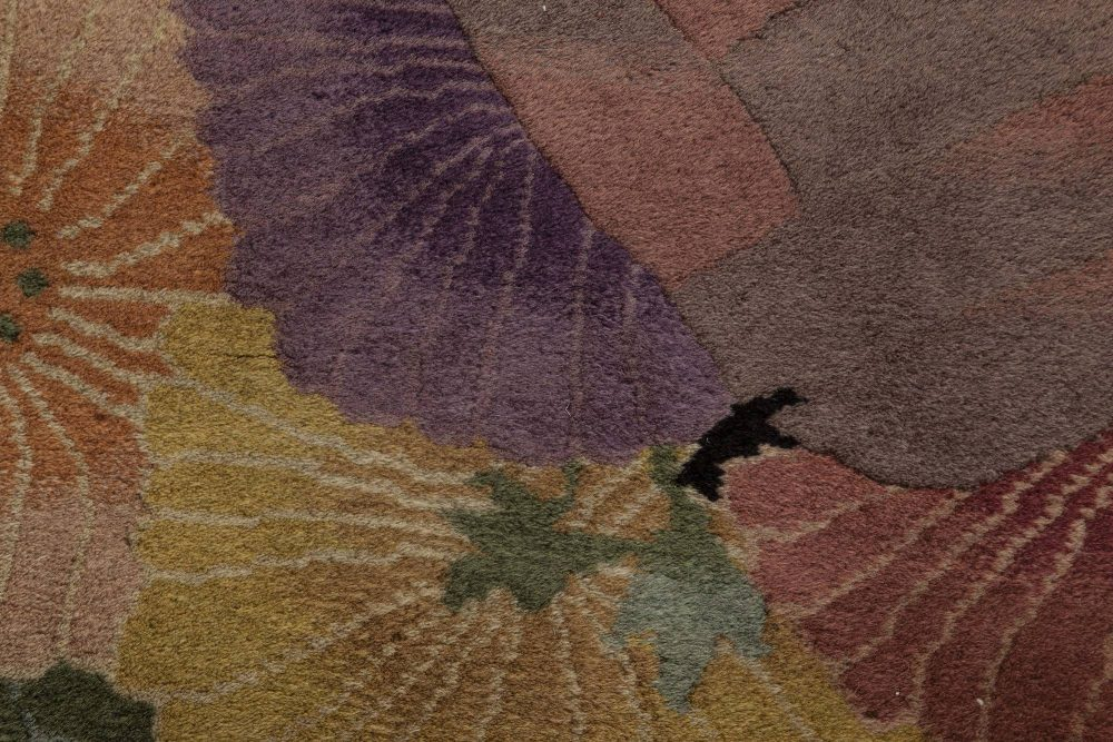 Mid-century Chinese Art Deco Black and Lilac Handwoven Wool Rug BB6359