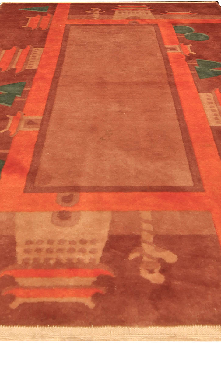 Vintage Chinese Art Deco Red and Green Handwoven Wool Rug BB4804