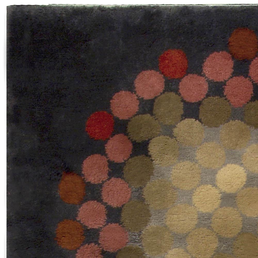 Vintage French Art Deco Circular Shape Handwoven Wool Rug BB5110