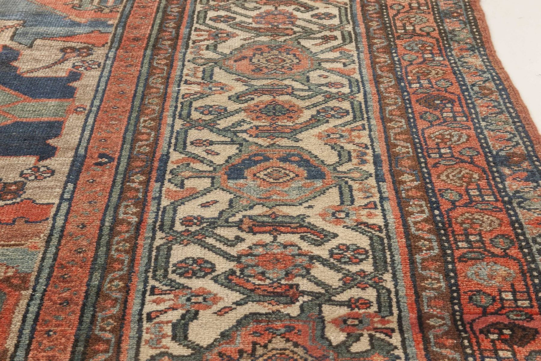 Antique Oversized Beige, Red and Blue Persian Malayer Wool Rug BB4653