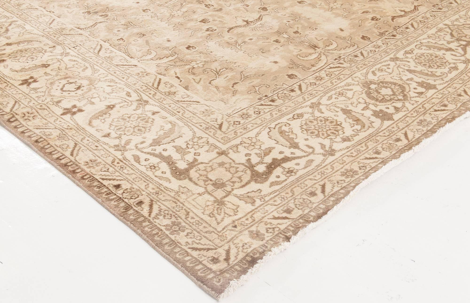Antique Tabriz Beige Handwoven Wool Rug BB0368
