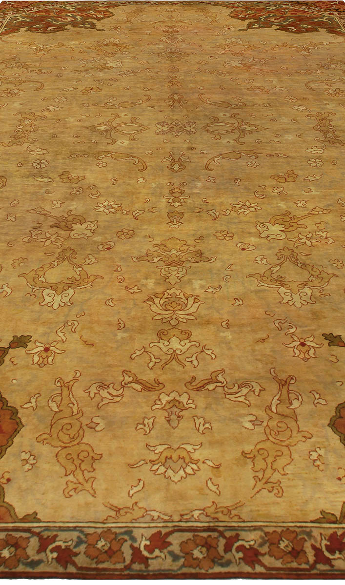 Antique Turkish Oushak Sandy Beige and Brown Handwoven Wool Rug BB5267