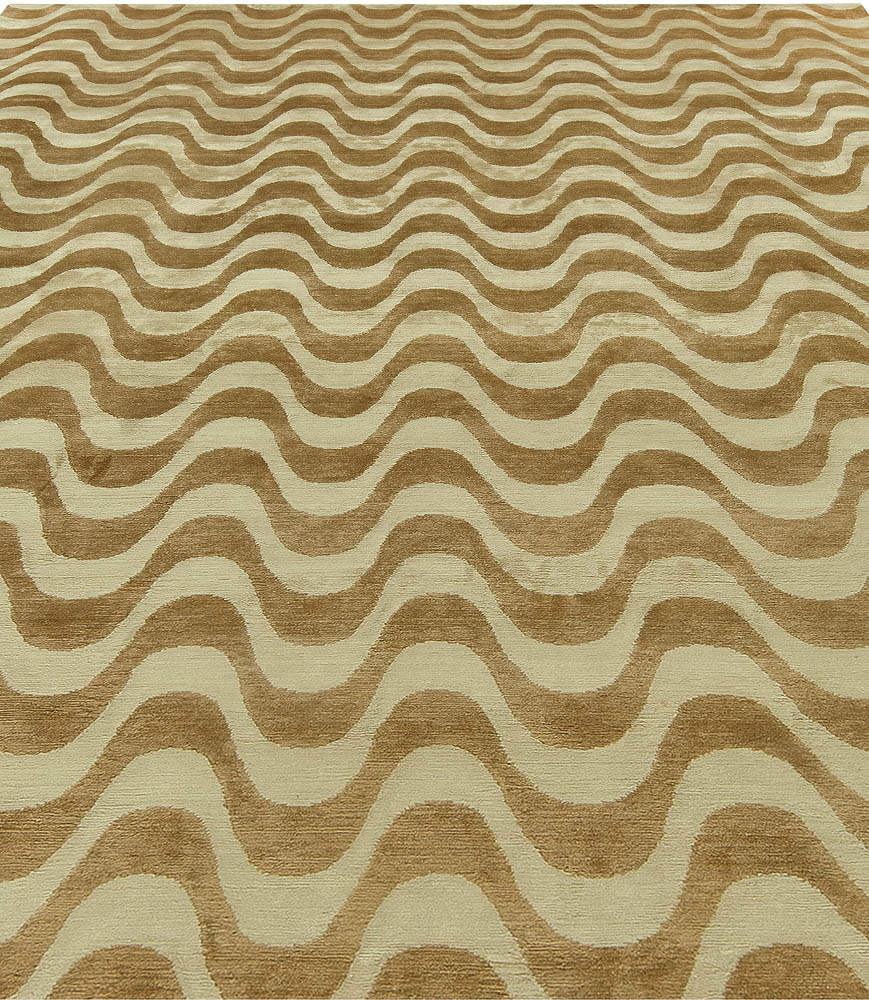 Contemporary Gold Waves Design Hand Knotted Wool Rug N10720
