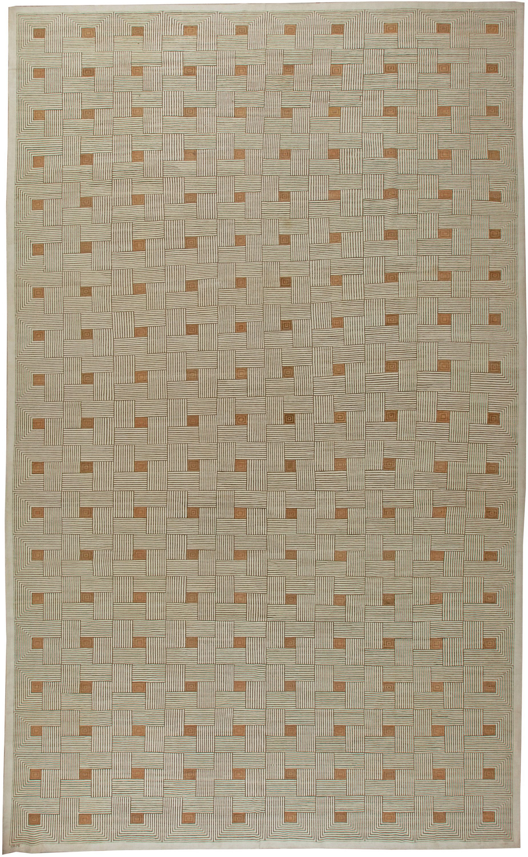 Art Deco Inspired Box Design Brown, Off-White and Ochre Rug N11069