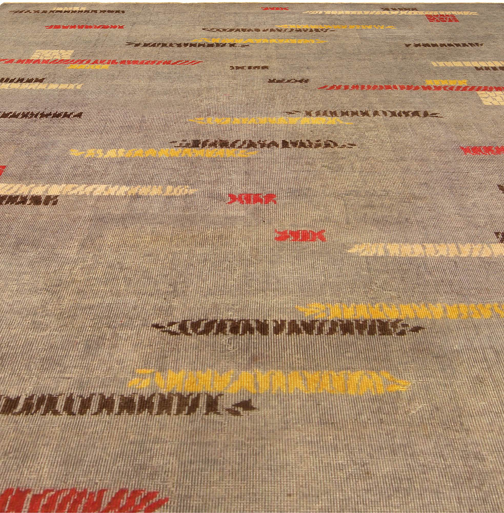 Vintage Art Deco Gray, Red, Yellow and Brown Handwoven Wool Rug BB5176