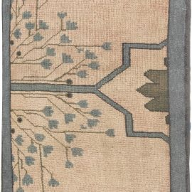 Arts & Crafts Dusty Pink, Blue and Taupe Fragment Rug by Gavin Morton BB6302