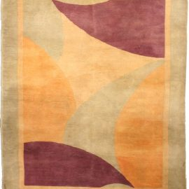 Vintage Chinese Art Deco Gold, Beige and Purple Wool Rug BB4753