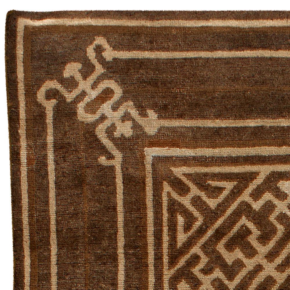 Vintage Mongolian Chocolate Brown Handwoven Wool Carpet BB3593