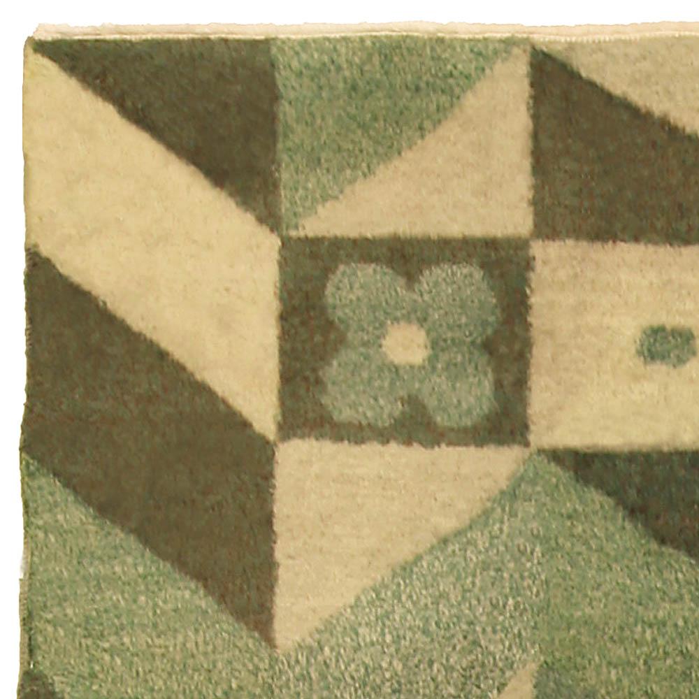 Art Deco Style Green, Yellow and Brown Handmade Wool Carpet BB5190