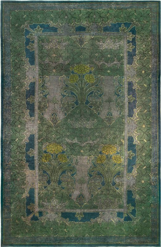 rugs-vintage-donegal-voysey-green-floral-bb5156-14×9