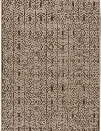Contemporary Samarkand Pastel Blue and Cream Handwoven Wool Rug N10823