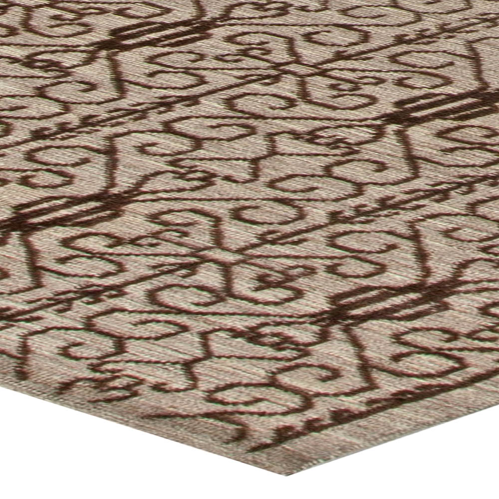 Traditional Samarkand Light Brown and Black Hand Knotted Wool Rug N11036