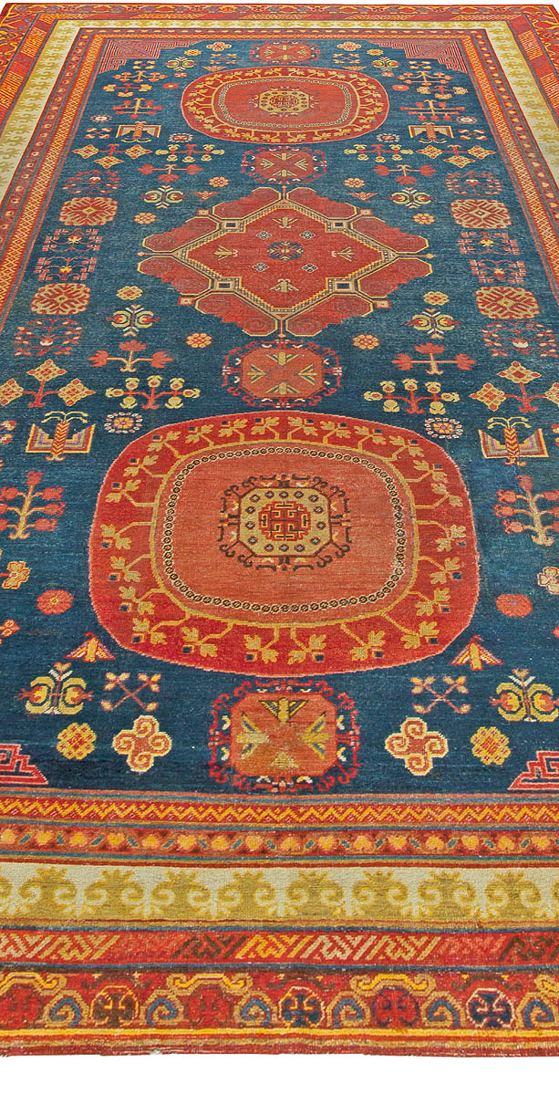 Antique Samarkand Red and Blue Hand Knotted Wool Rug BB6057