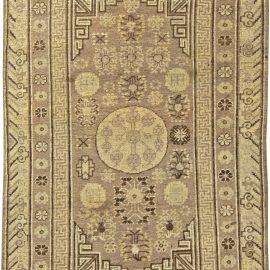 Vintage Samarkand Light Beige and Brown Handwoven Wool Rug BB5803