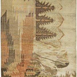 Samarkand Landscape Design Brown, Beige and Orange Handwoven Rug BB6051