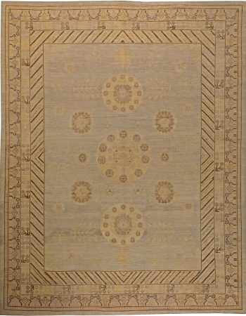 "Contemporary ""Dreamy"" Beige and Blue Hand Knotted Wool and Silk Rug N11948"
