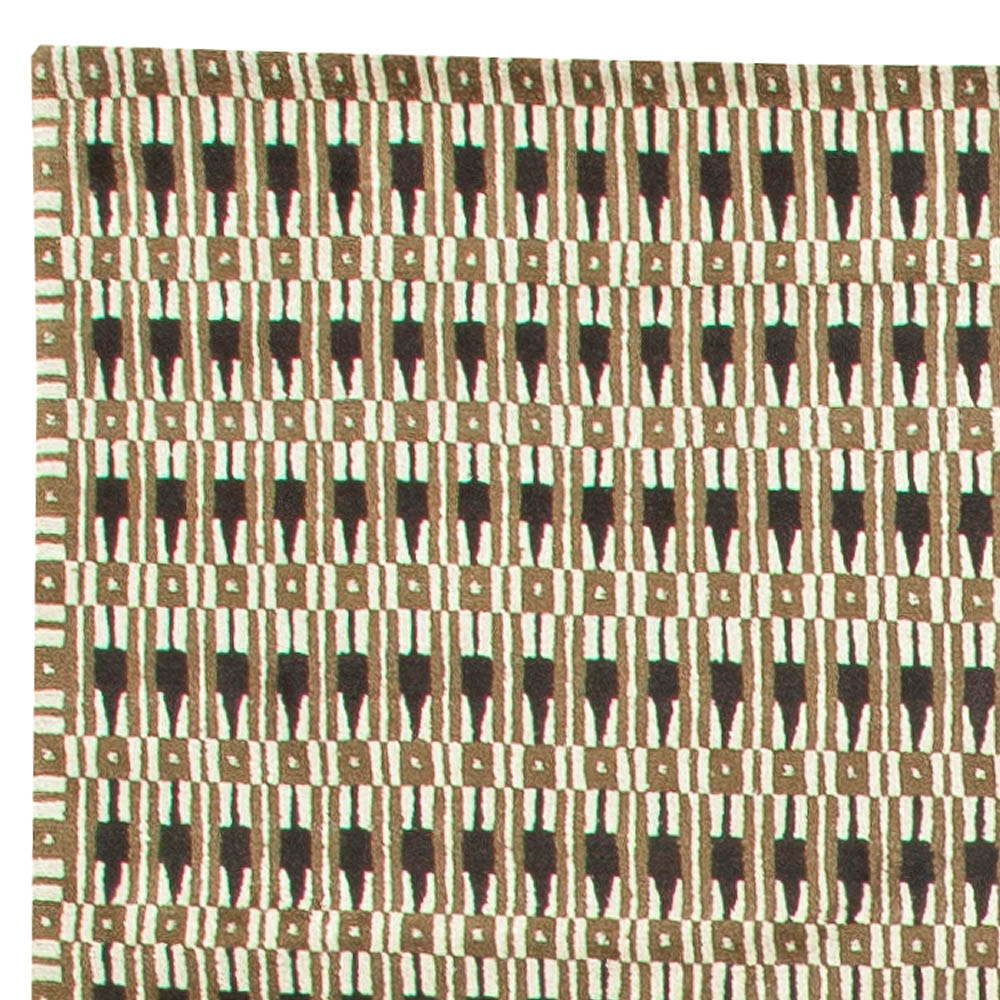S. Siegel Black, Brown and White Hand Knotted Wool and Silk Rug N11296