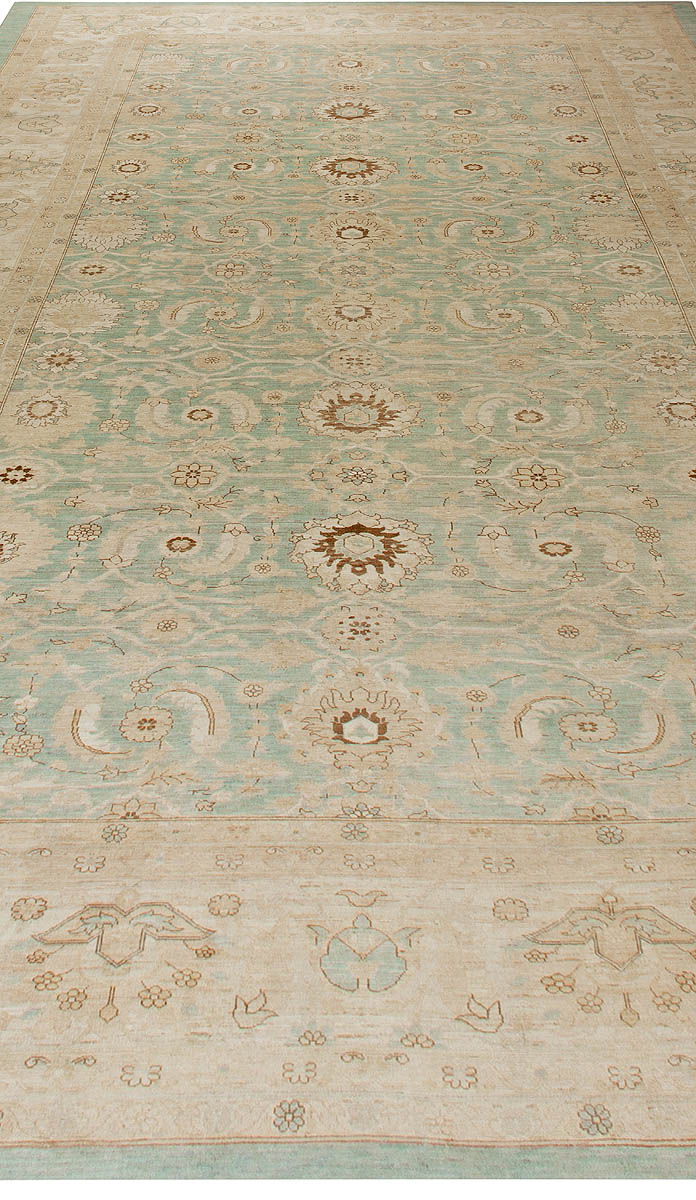 Contemporary Sultanabad Design Pastel Blue and Beige Rug N10926