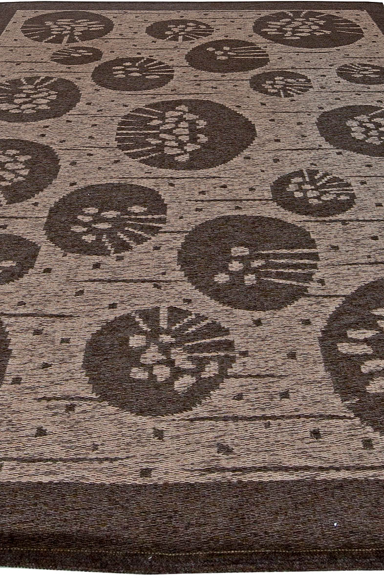 Midcentury Swedish Brown Double Sided Flat-Weave Wool Rug by Orsa BB5679