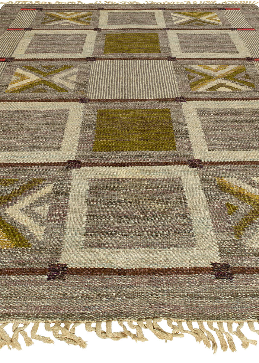 Swedish Geometric Flat-Weave Wool Rug in Tones of Brown, Gray & Green BB5695
