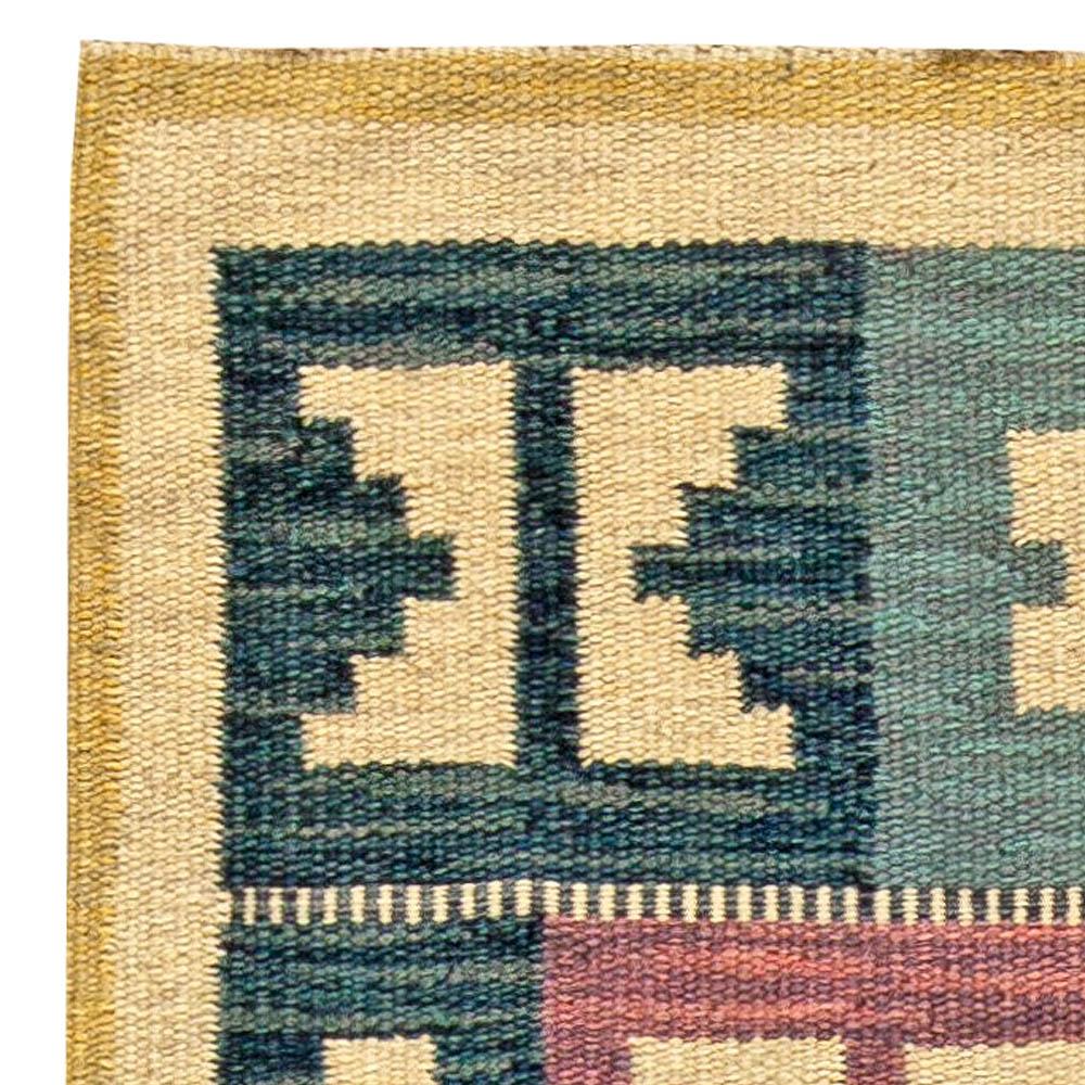 Vintage Swedish Geometric Flat-Woven Wool by Anna-Greta Sjöqvist BB5686