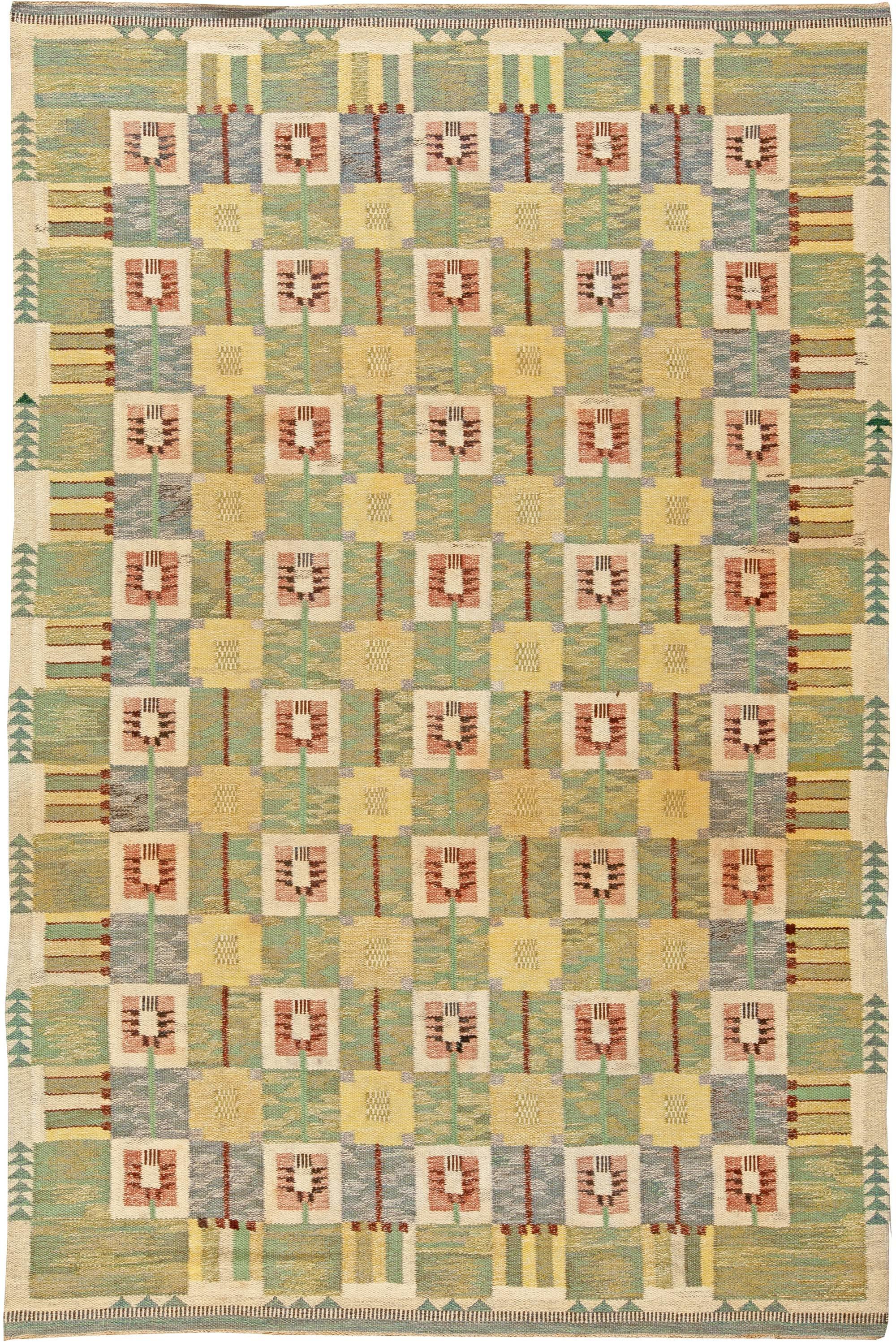 Vintage Swedish Flat Weave Maskrosen By Ethel Halvar