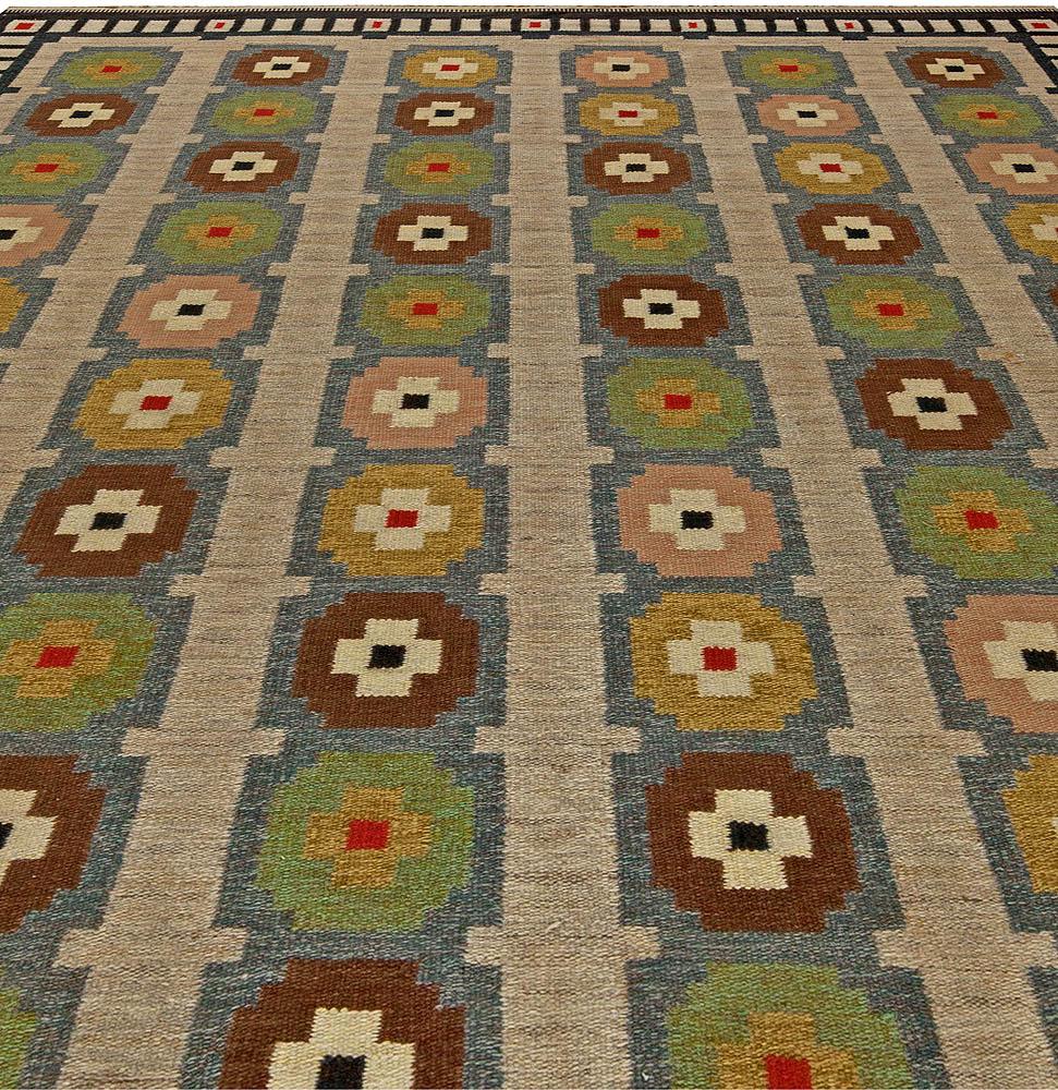 Scandinavian Blue, Beige, Green, Yellow and Red Flat-Woven Wool Rug BB5687