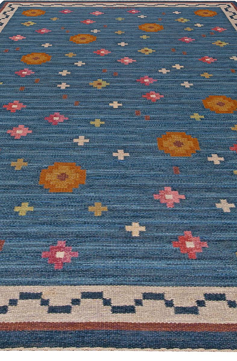 "Mid-Century Swedish Flatweave Rug with Blue ""Blomsteräng"" Design by Anna Greta Sjöqvist BB5682"