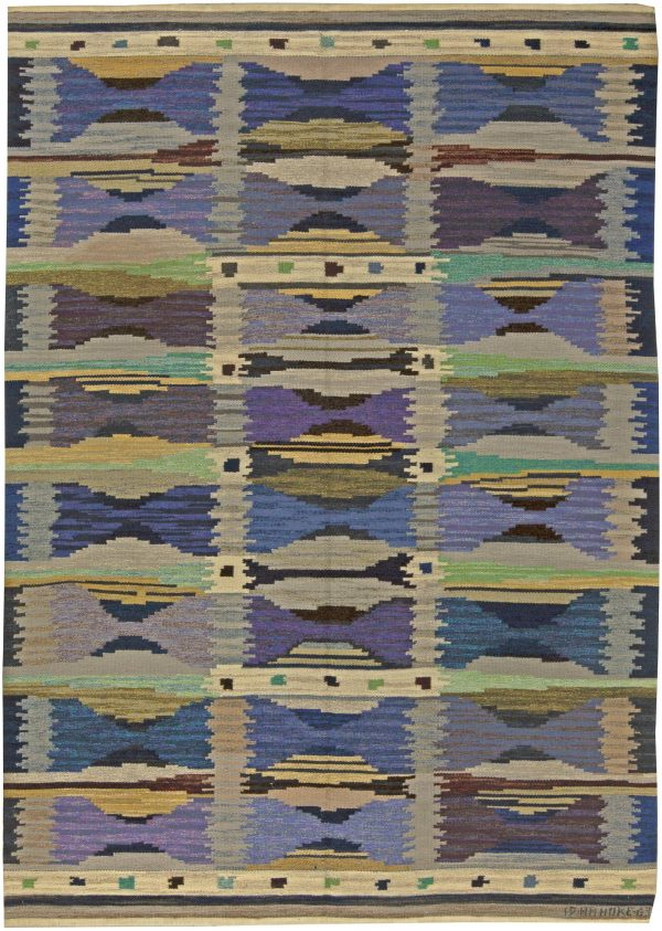 Vintage Swedish Flat Weave Rug by Anna Maria Hoke BB5951