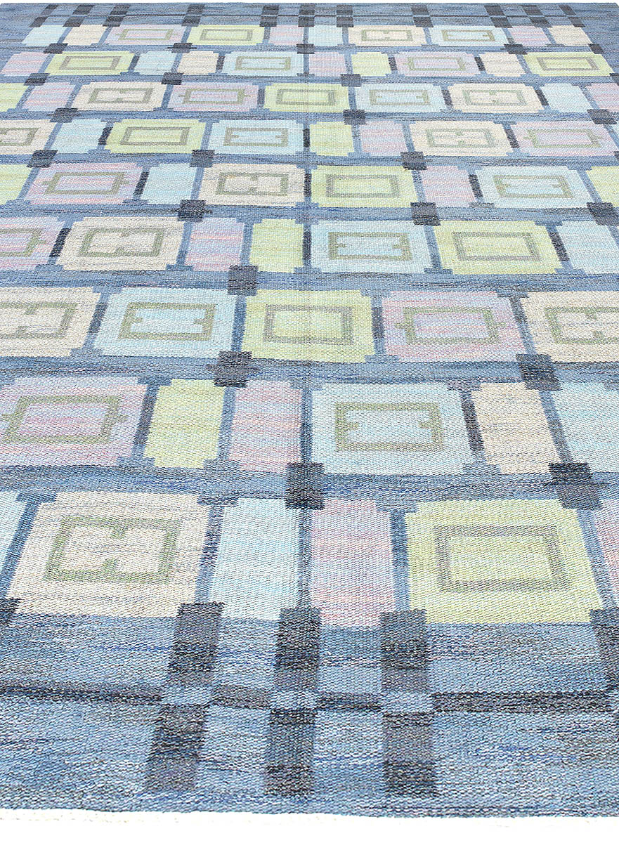 Mid-Century Scandinavian Rug by Judith Johansen in Pastel Colors on Blue Background BB6016