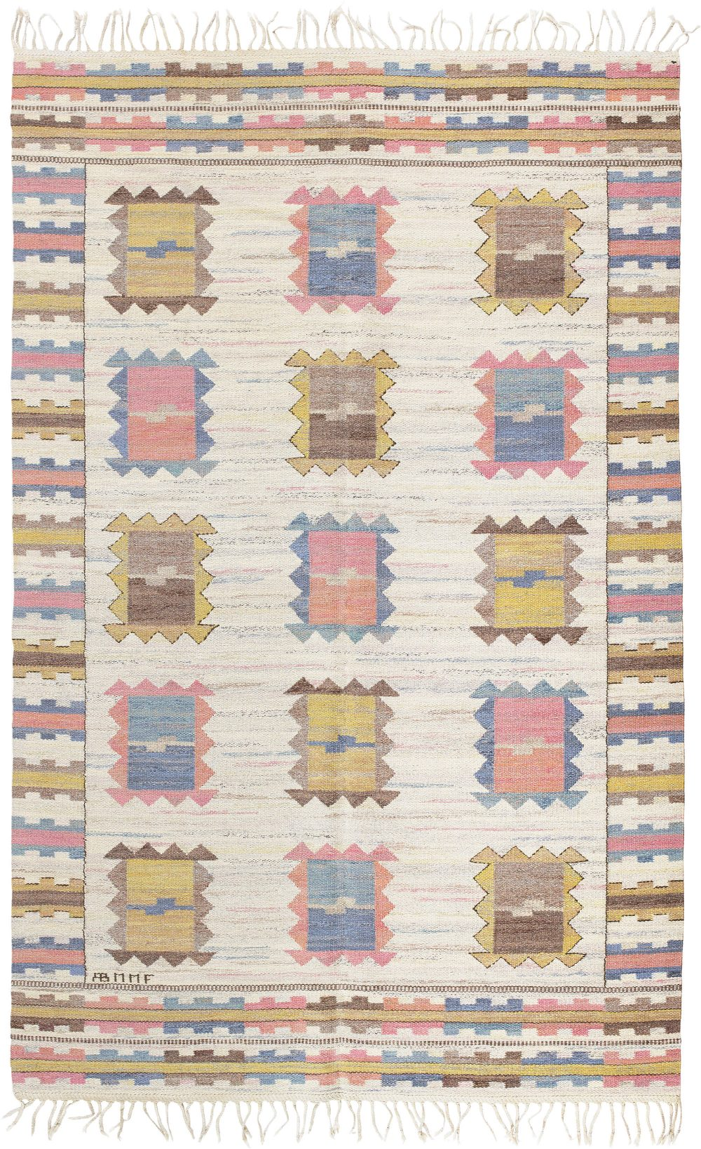 "Vintage Swedish Flatweave by Märta Måås-Fjetterström ""Ljusa Plador"" BB6008"