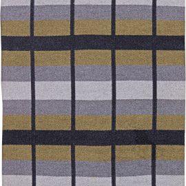 Swedish Mid Century Light Gray & Khaki Reversible Flat-Weave BB6241