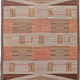 Hand-woven Mid-Century Swedish Wool Flatweave Rug in Beige, Salmon Pink, and Brown BB6254