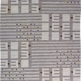 Mid-Century Swedish Wool Rug with Stripes and Geometric Shapes in Shades of Grey BB6190