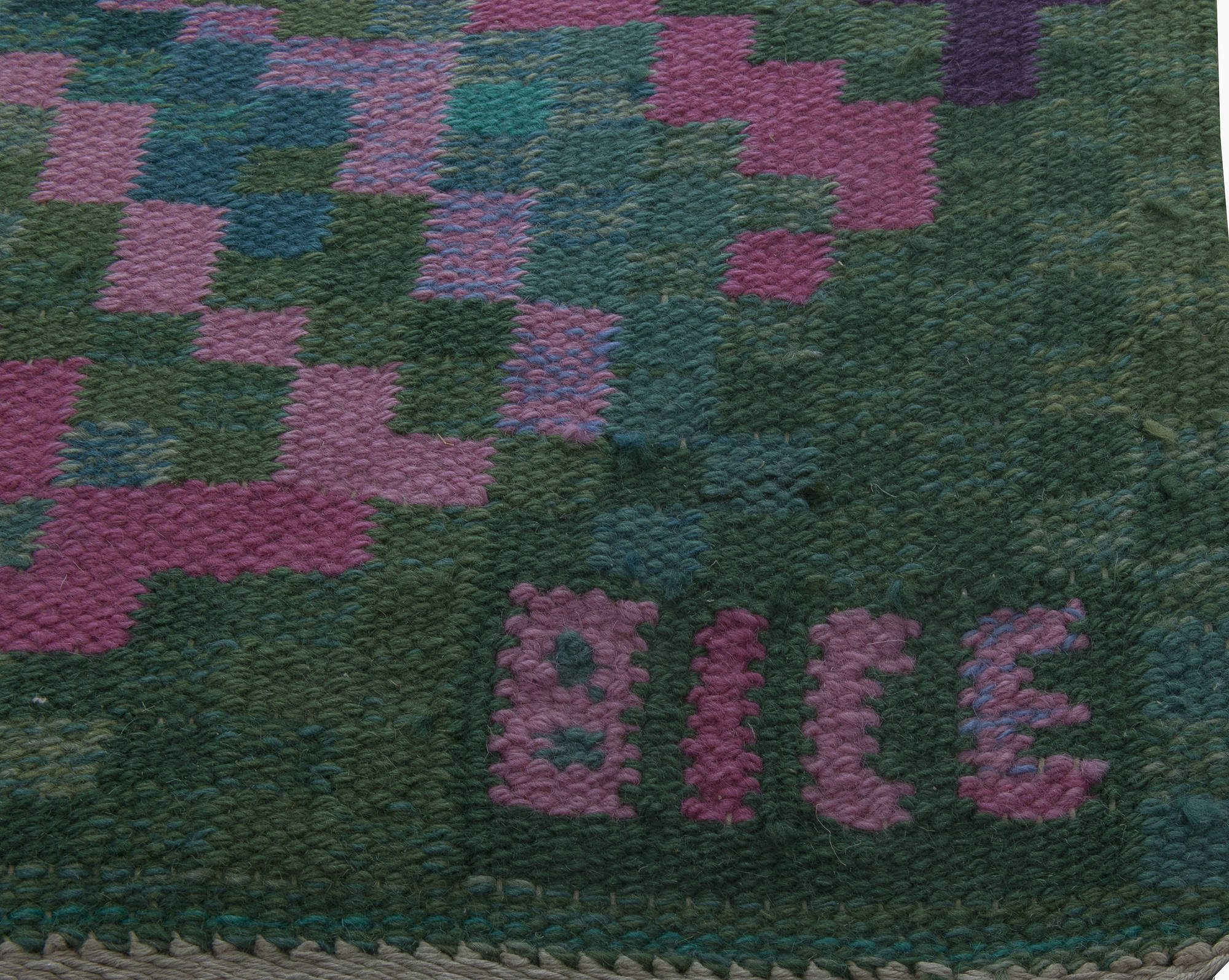 Vintage Swedish Flat Weave Runner Signed  Bice. BB6398