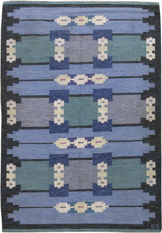 Vintage Swedish Flat Weave Rug by Sverker Greuholm BB6255
