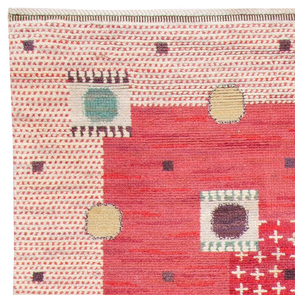 Vintage Swedish Pile Rug by MMF Kullager Röd BB6115