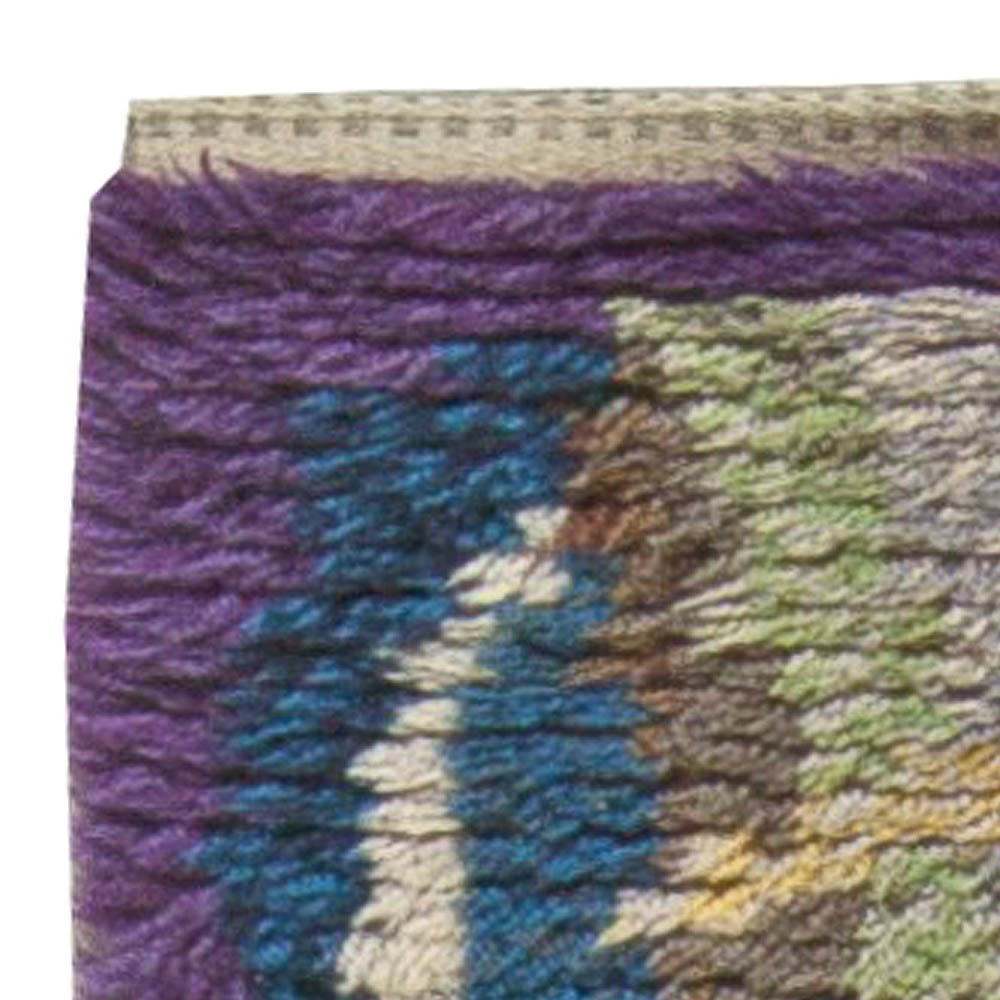 Vintage Swedish Purple, Blue, Green and Yellow Rya Wool Rug BB5683