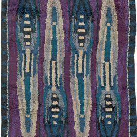 Vintage Rya Blue and Purple Handwoven Wool Rug BB5680