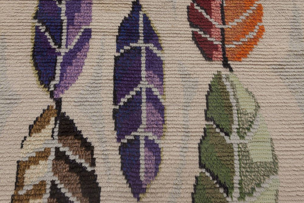 Mid-Century Modern Scandinavian Rug with Colorful Leaves on a Cream Background BB6444