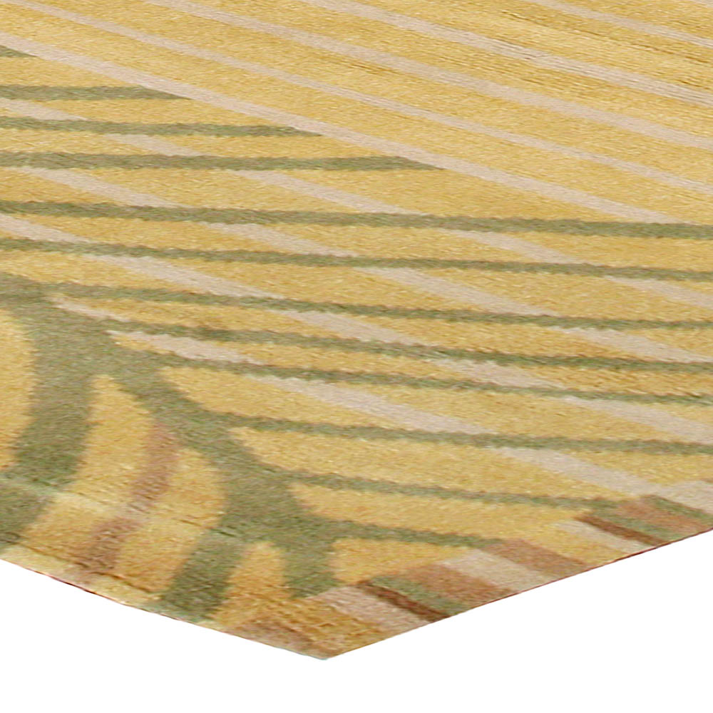Abstract Scandinavian Inspired Tibetan Rug in Yellow, Green & Brown N10965