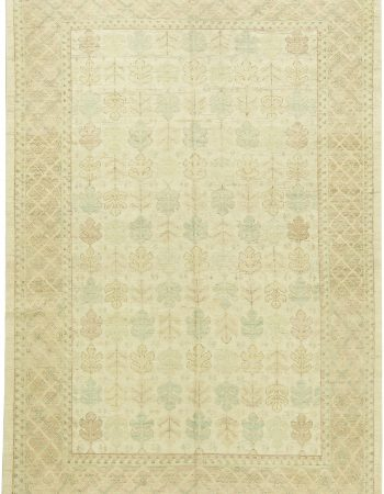 Traditional Oriental Inspired Beige, Brown and Aquamarine Wool Rug N11272