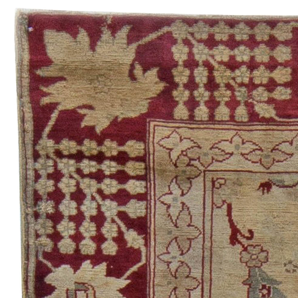 Turkish Hereke Rug in Burgundy, Earthy Taupe, Green and Brown BB5636