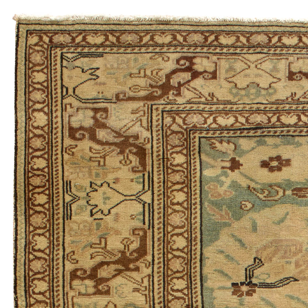 Antique Turkish Sivas Blue, Taupe and Beige Handwoven Wool Rug BB5710