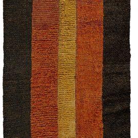 Antique Uzbek Julkhyr Brown, Dark Red and Honey Wool Runner BB5715