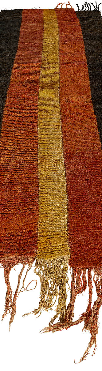 Antique Uzbek Julkhyr Brown, Dark Red and Honey Wool Runner BB5715